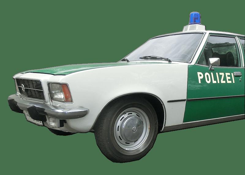 """Unser Opel Rekord Polizeifahrzeug kurz vor Beginn der Dreharbeiten zum """"ZDF-Taunuskrimi"""""""