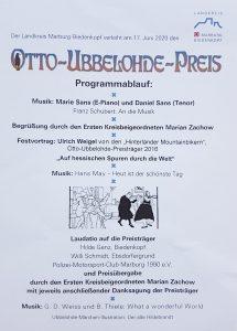 Der Programmablauf der Verleihung des Otto-Ubbelohde-Preises 2020
