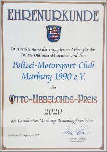 Die Urkunde zum Otto Ubbelohde Preis 2020 an den Polizei-Motorsport-Club Marburg