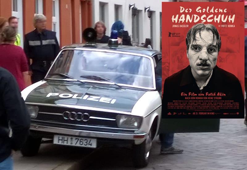 """""""Der Goldene Handschuh"""" Horror-Thriller mit Marburger Polizeioldie, hier Filmplakat mit den Polizeioldtimer vom Typ Audi 100"""
