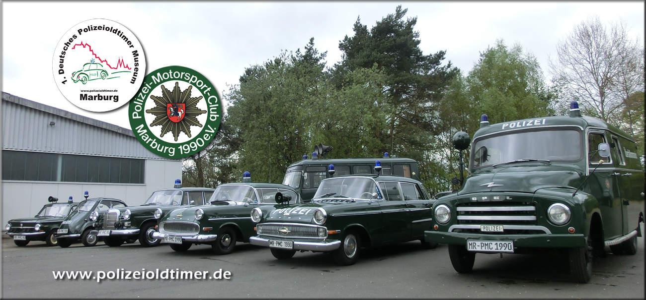 Einige der historischen Polizeifahrzeuge aus dem Polizeioldtimer Museum in Marburg